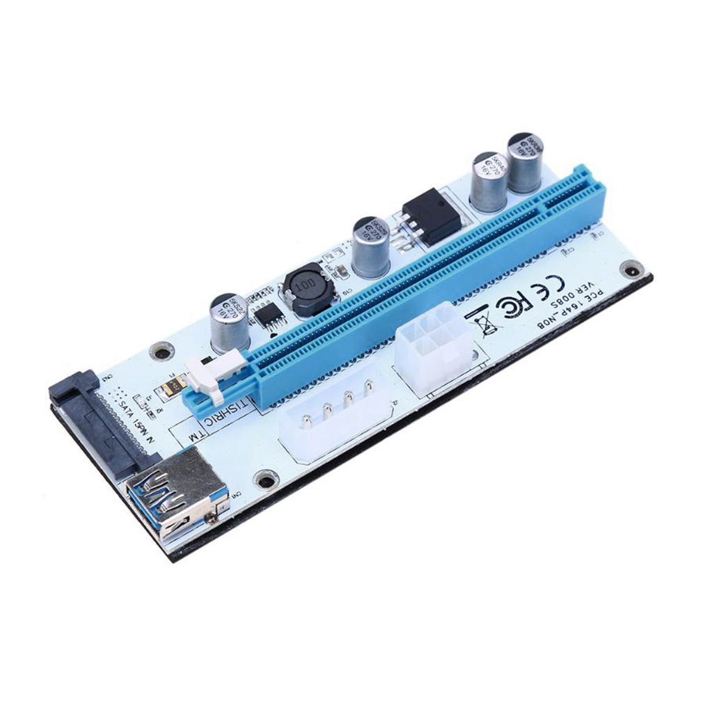 Pci E Express Mining Riser Card Adapter 1x To 16x Usb 30 Extender 4 Solid Capacitor Board Cable Features Capacitors