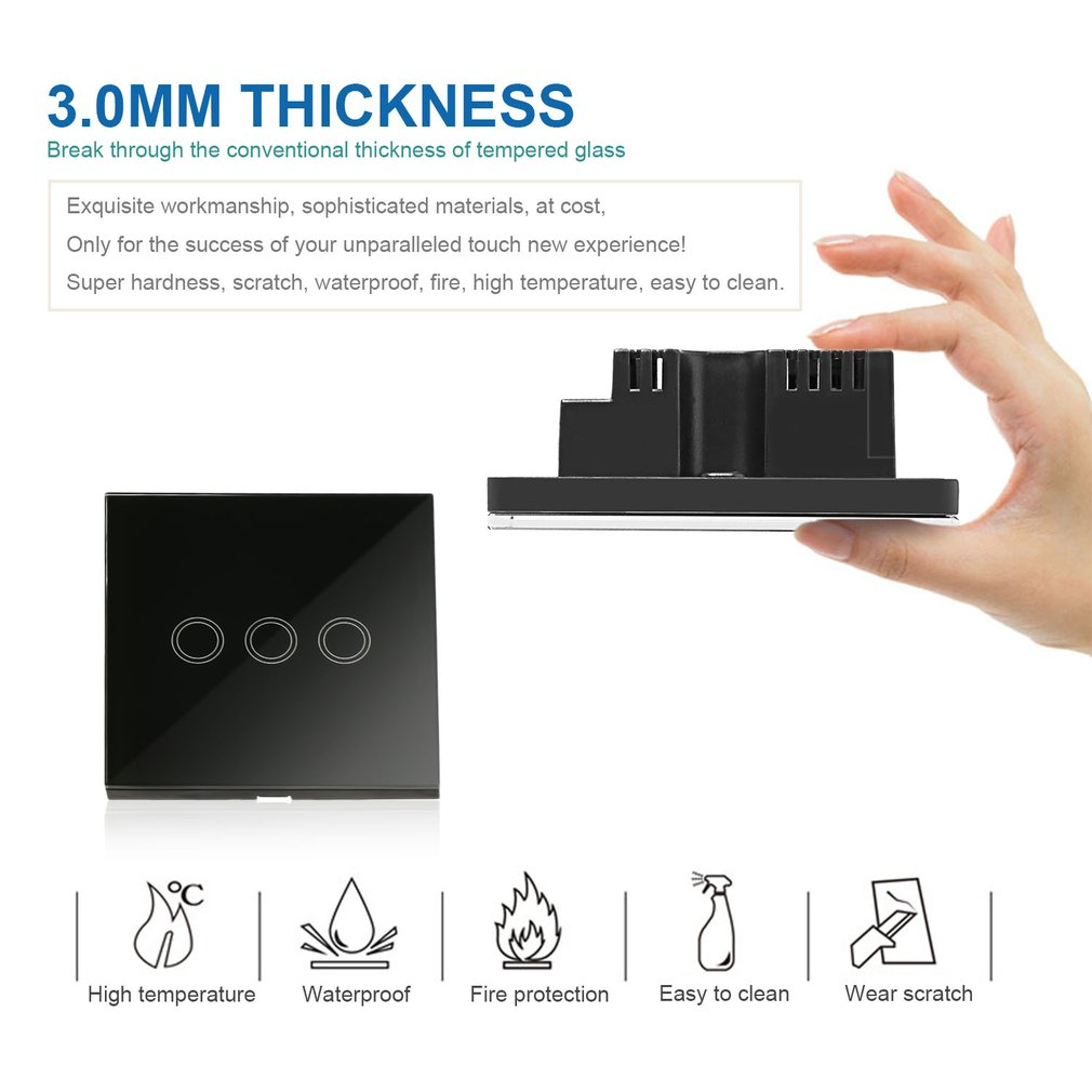 3 Way Smart Touch Light Wall Switch Glass Panel Led Backlight Remote Control H