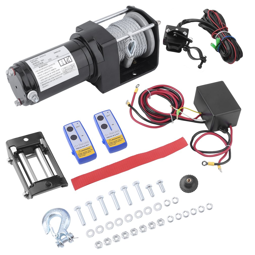 3000lb 12v Electric Winch With Wireless Remote Trailer 4x4 Truck 2 Way Switch For 1 X Power 4 Roller Fairlead Hammer Forged Hook Heavy Duty Rope Scews Set Button