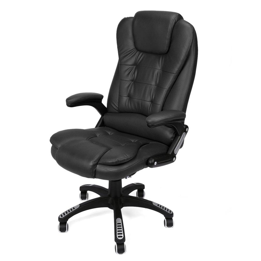 homcom chaise de bureau pivotante massage électrique chocolat
