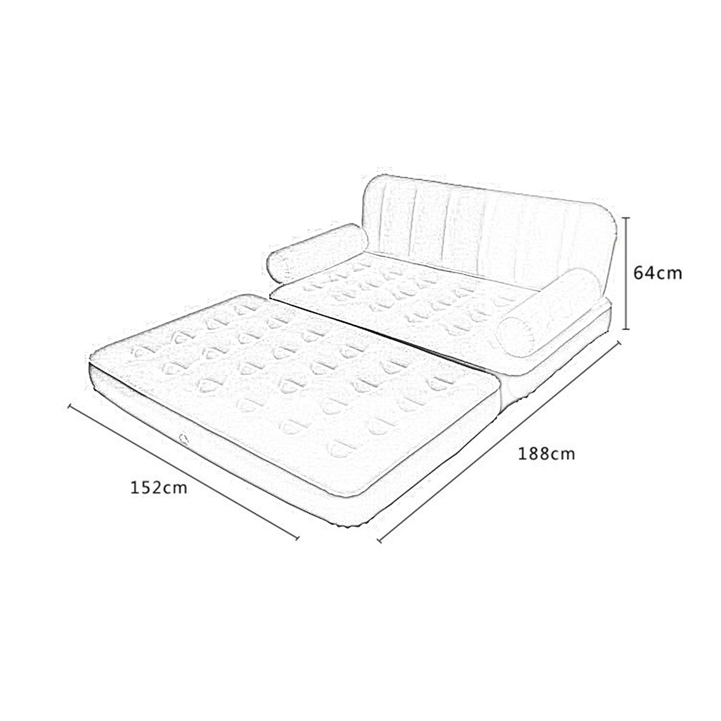 Double sofa air bed inflatable blow up couch furniture for Sofa bed dimensions unfolded