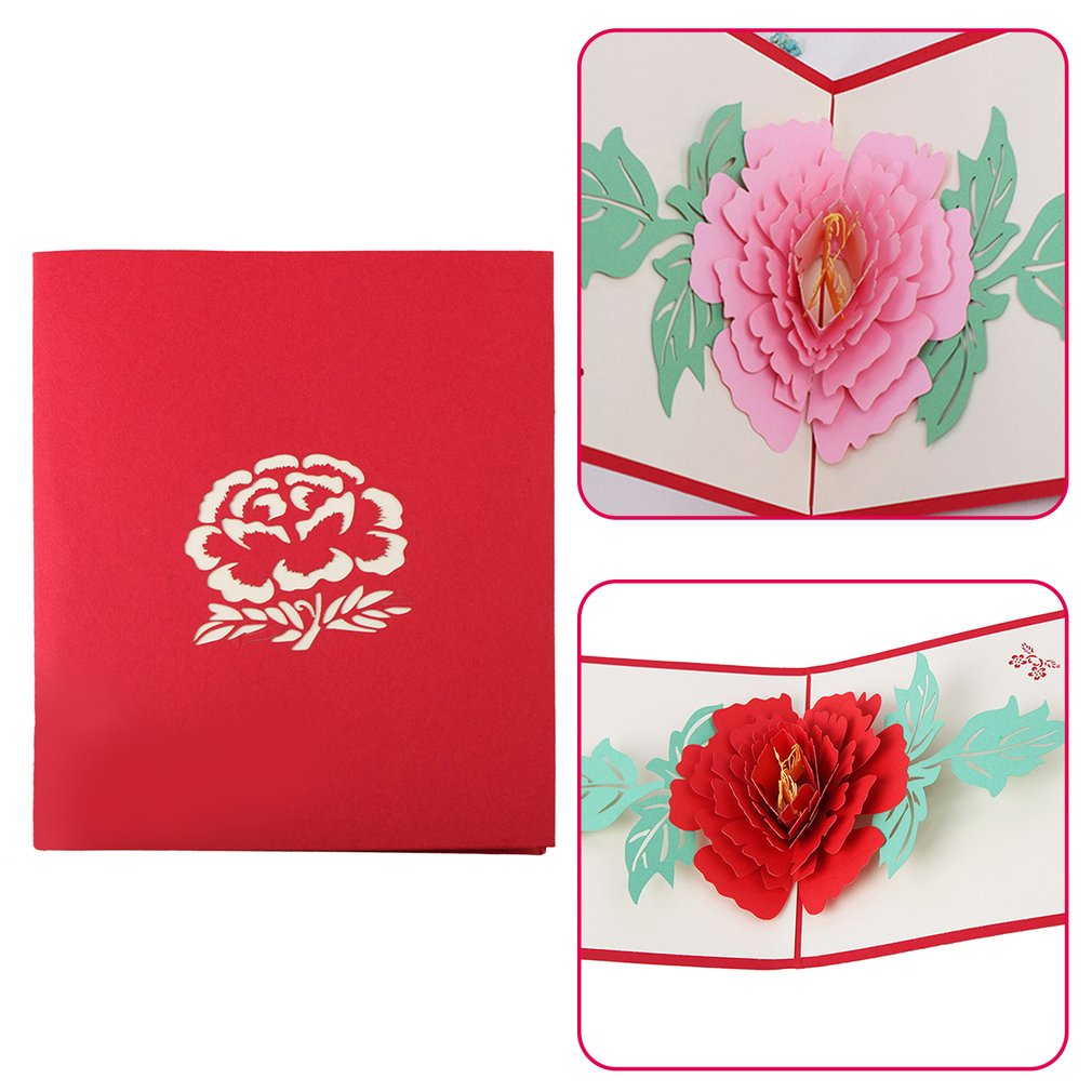 Details About 3d Pop Up Cards Peony Flowers New Year Wedding Mothers Day Greeting Cardsus