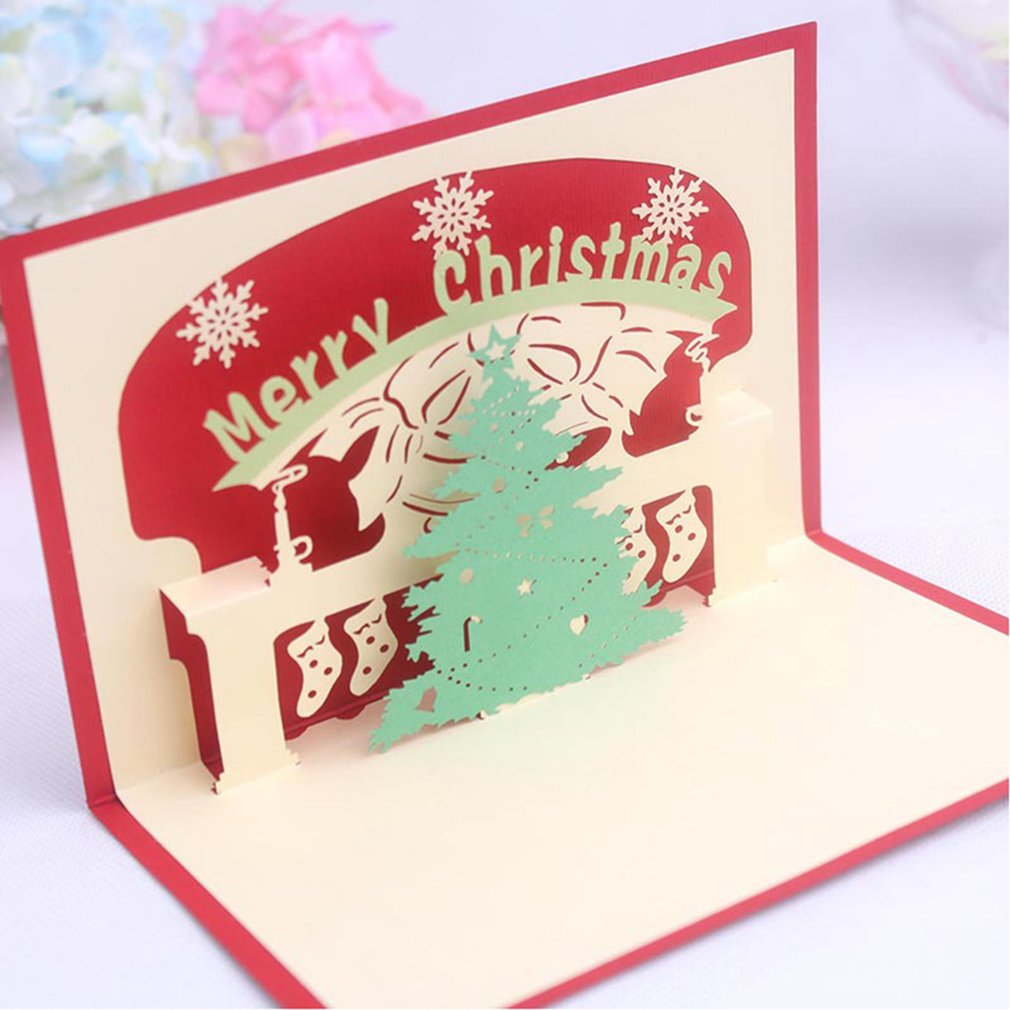 3D Pop Up Festival Greeting Cards Merry Christmas Trees Shape ...
