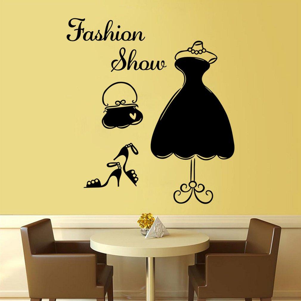 DIY Fashion Show Women Dress PVC Art Wall Sticker Wardrobe Bedroom ...
