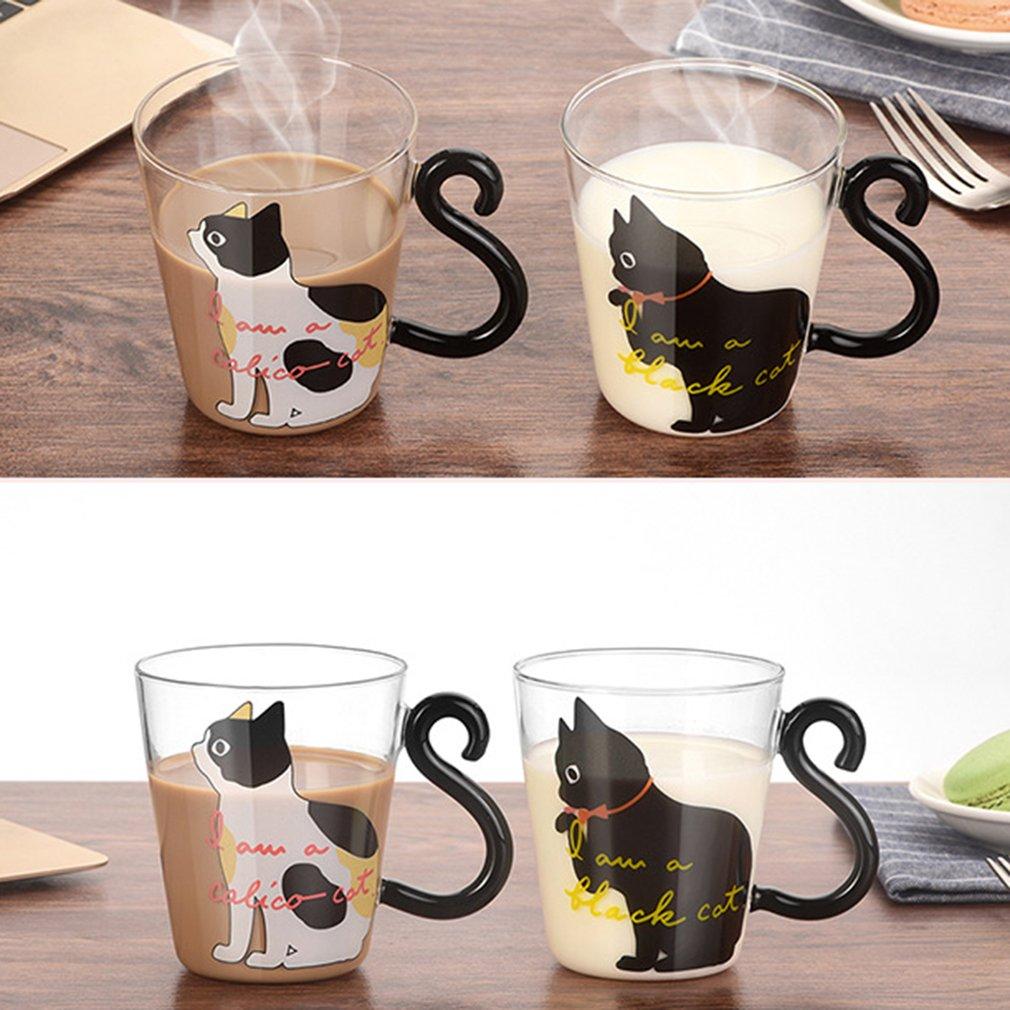 Cute Kitty Glass Water Cup Cat Tail Handle Milk Tea Coffee