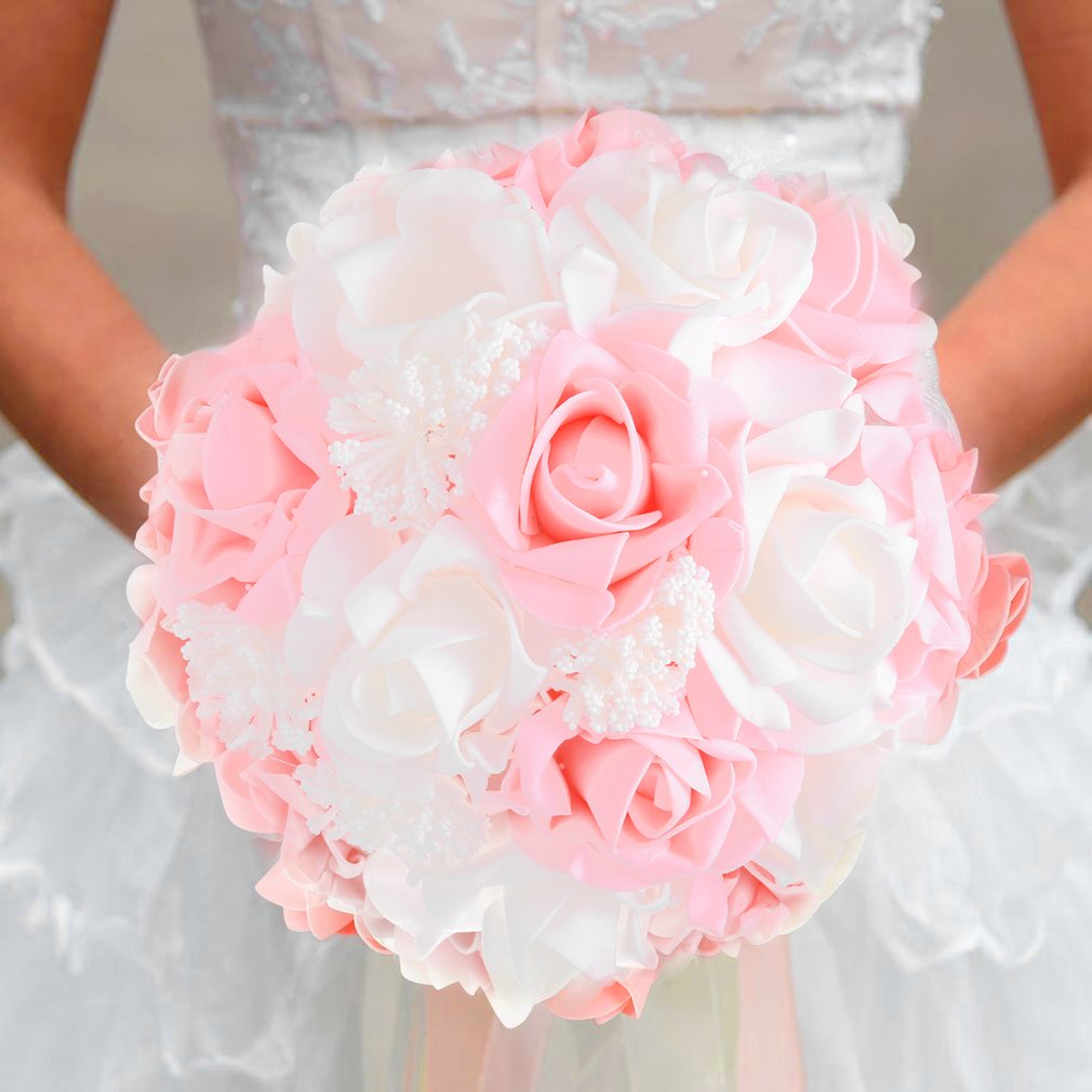 Bride Holding Bouquet Korean Style Simulation Rose Bouquet For ...