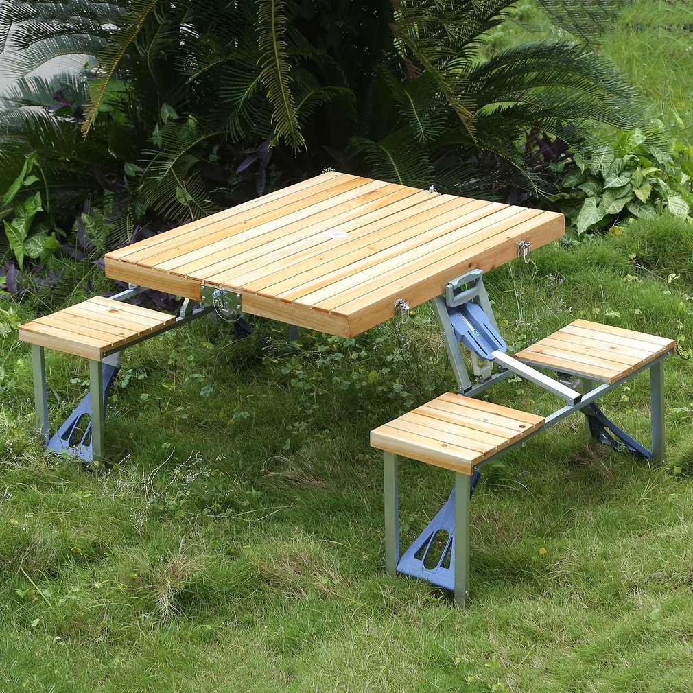 New Wooden Portable Folding Table W Seats Camping Picnic Outdoor - Picnic table seats 12