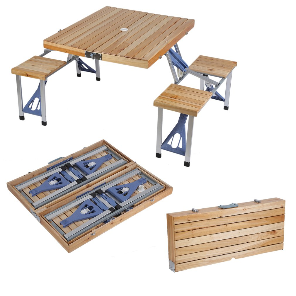 New Wooden Portable Folding Table W Seats Camping Picnic Outdoor - Picnic table seats 8