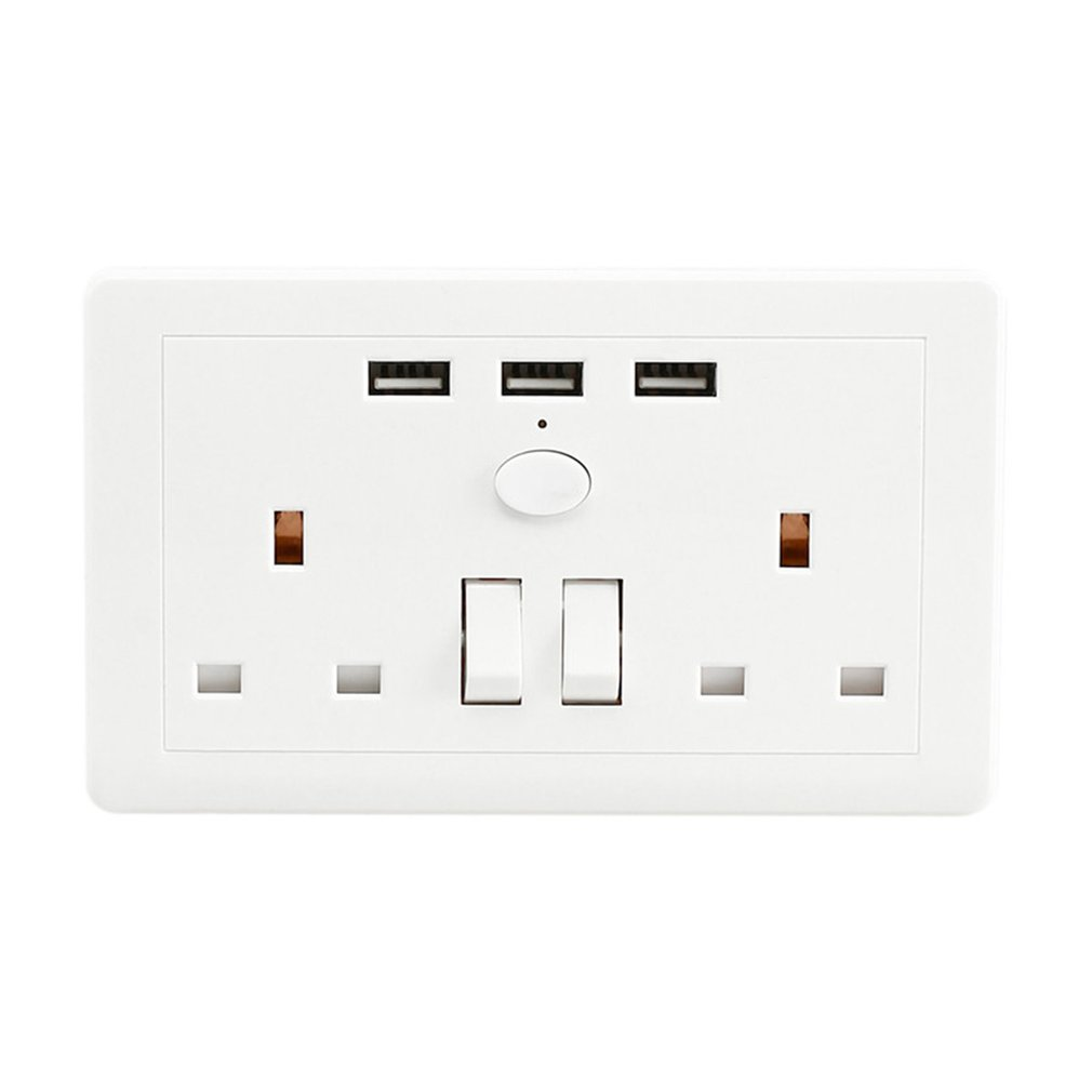 double wall plug socket 2 gang 3a with 2 usb ports
