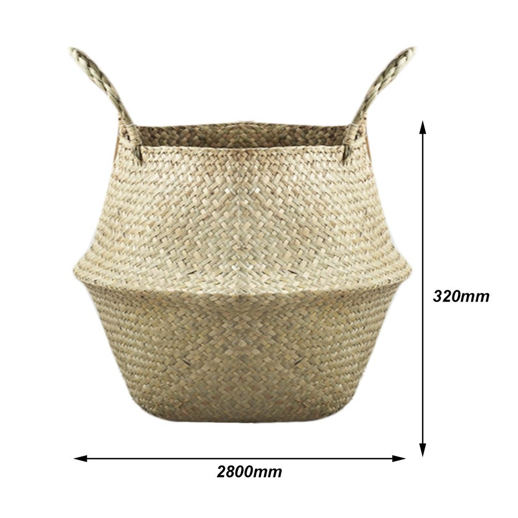 Seagrass Belly Basket Plant Pot Laundry Storage Holder Organizer Bag ...
