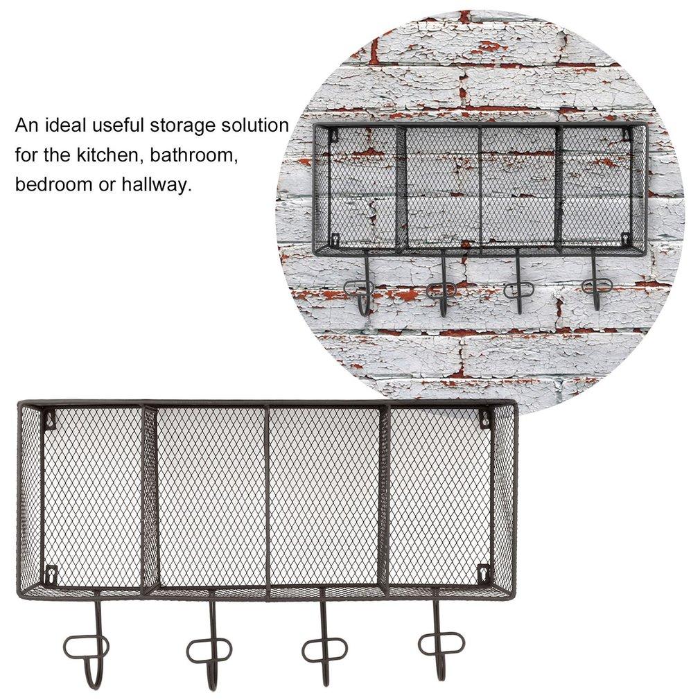 Etag¨re Mural En Métal 4 Cubes Avec Crochets Style Industrielle