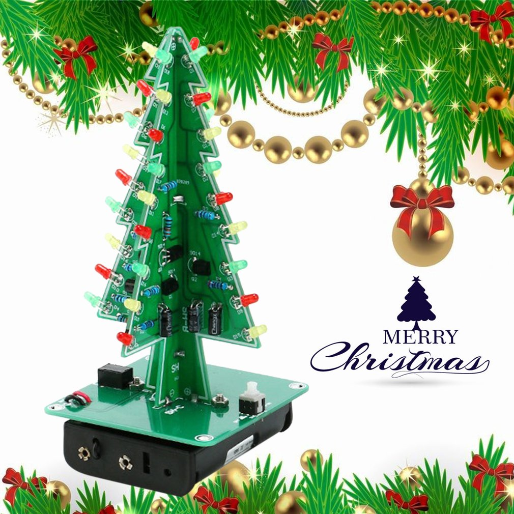 DIY 3D Christmas Tree LED Kit Red Green Yellow LED Flash Circuit ...