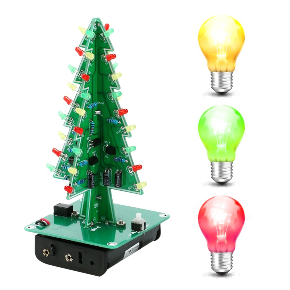 Christmas Tree Led Flashing Light Diy Board Kit Red Green Yellow Bulb Ornaments On Incandescent Circuit Diagram Item Specifics