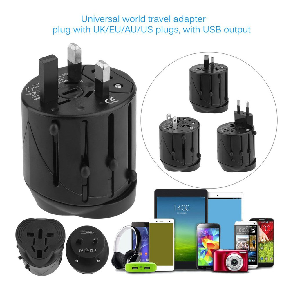 Universal Power Plug Converter Travel Portable Adapter USB Charging ...