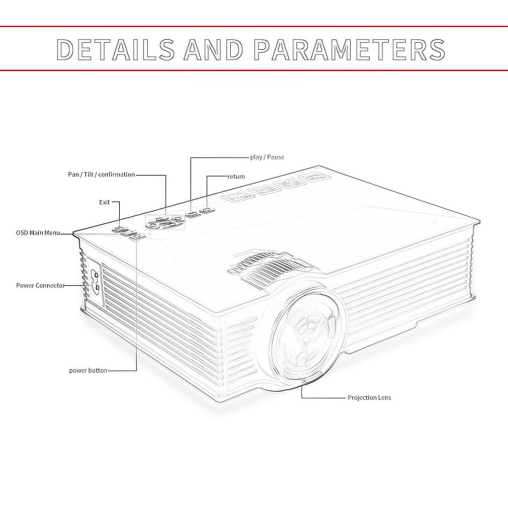 portable uc46 mini projector full hd1080p home cinema 1200