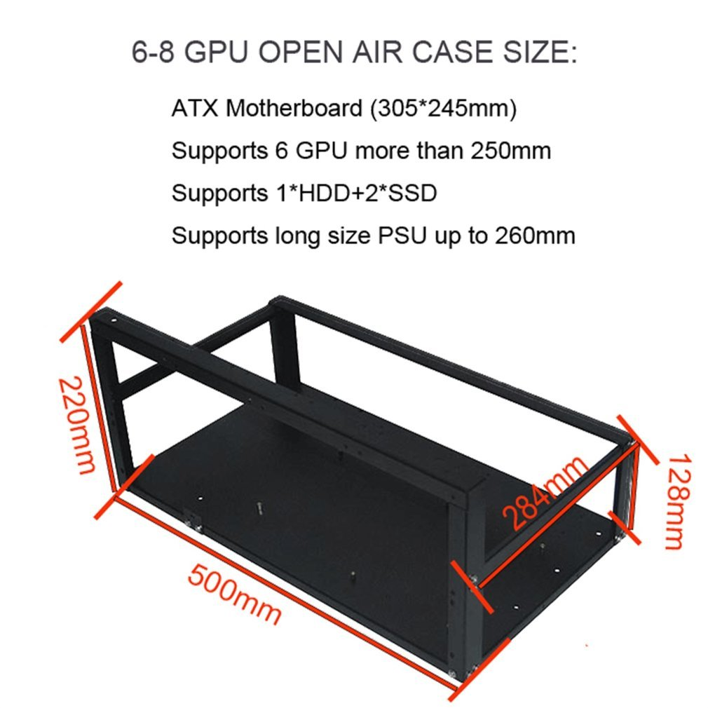 Open Air Frame Mining Rig Overlying Case Rack for 6 GPU for ETH ...