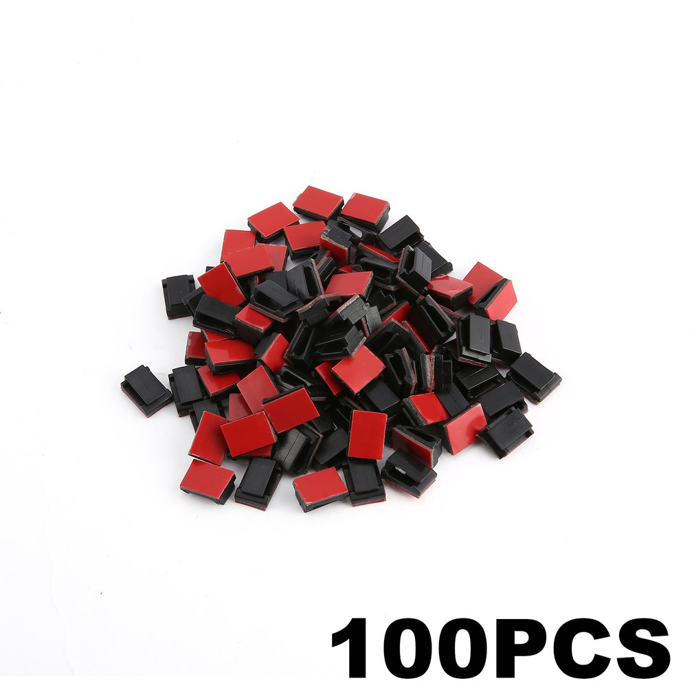 100 Pcs Adhesive Cable Clips Wire Clamps Car Organizer Cord Tie Harness Holder