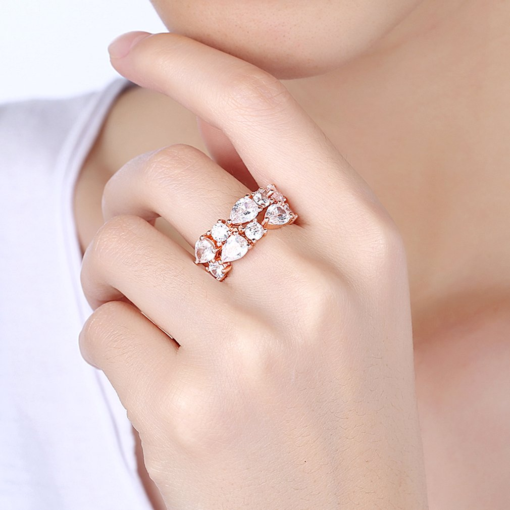 Fashion Women Ring Zircon Plating Natural Gift Jewelry For Wedding ...