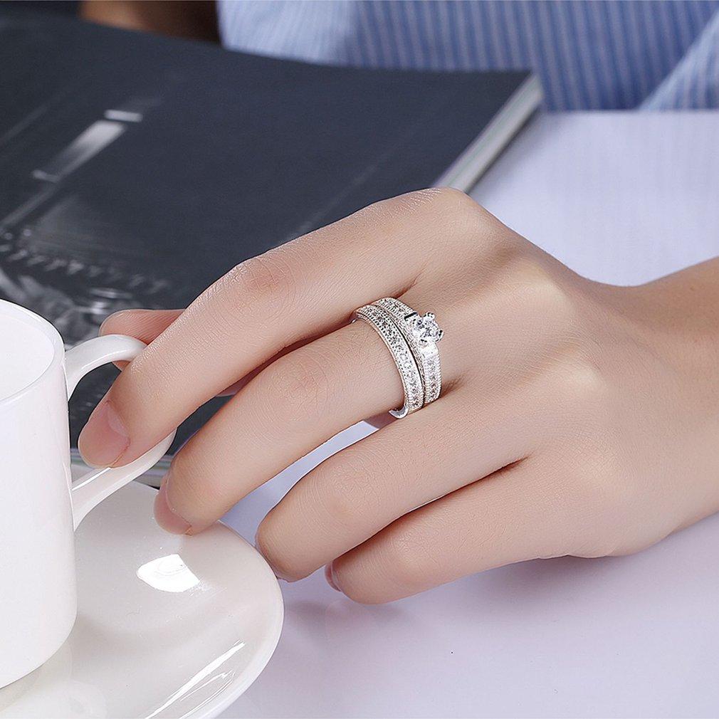 Fashionable Women Simple Zircon Rings Casual Metal Copper Finger ...