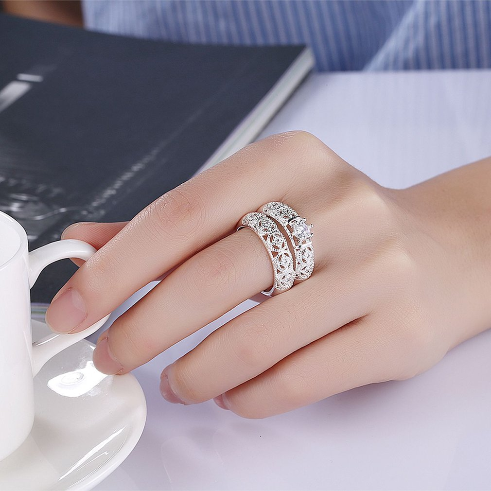 Women Trendy Zircon Stone Ring Luxury Zircon Wedding Engagement ...