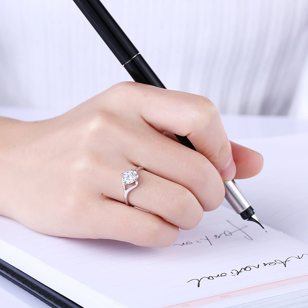 Women Refined Jewelry Flat Ring S925 Silver Adjustable Wedding Band ...