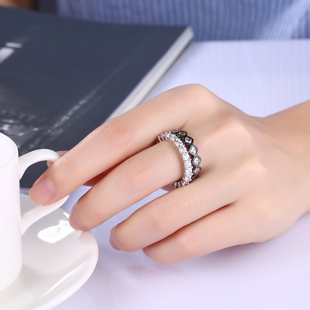 Women Double-Layer Flat Ring Trendy Crown Shape Wedding Band ...