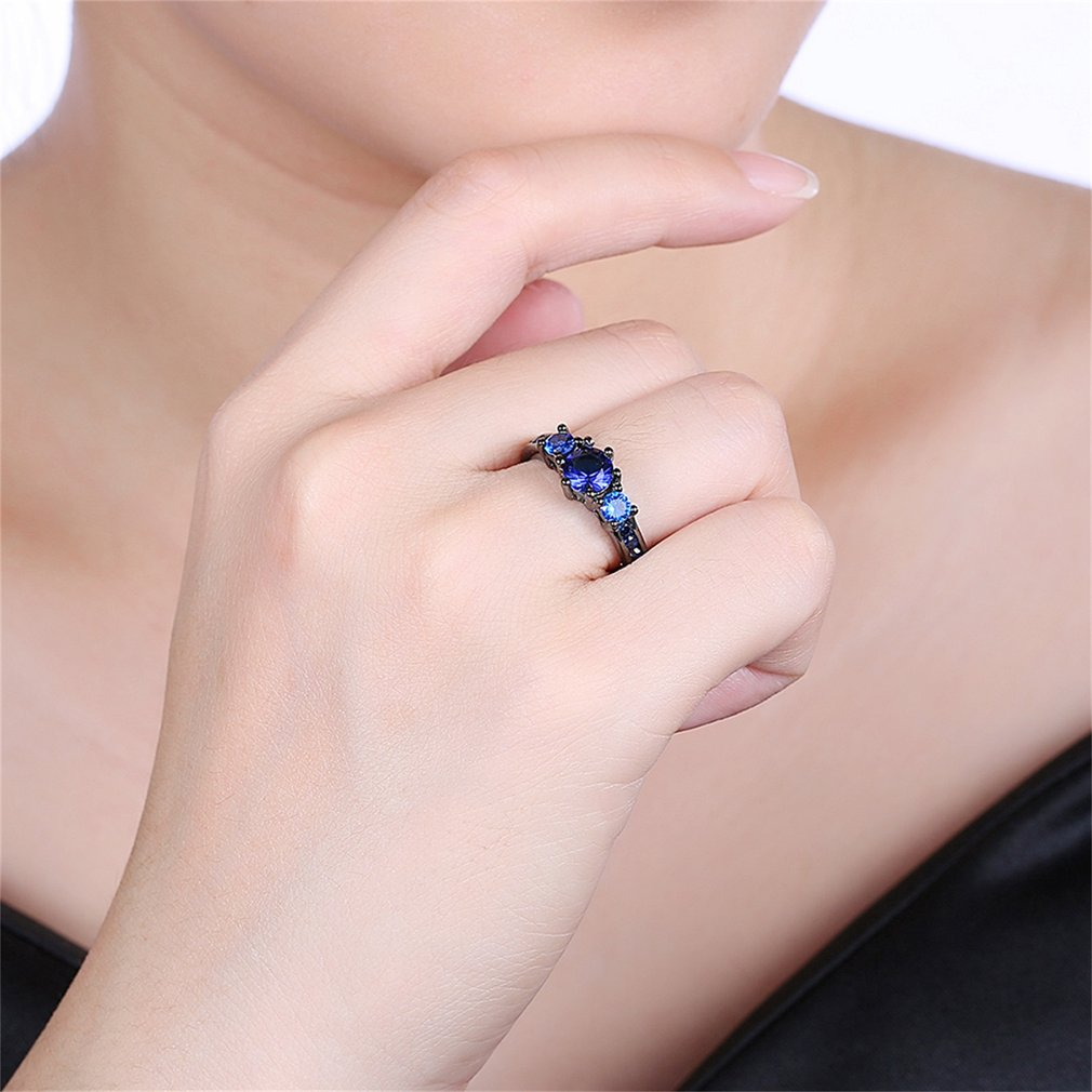 unique wedding rings Sweet Girls Blue Round Zircon Surround Finger ...