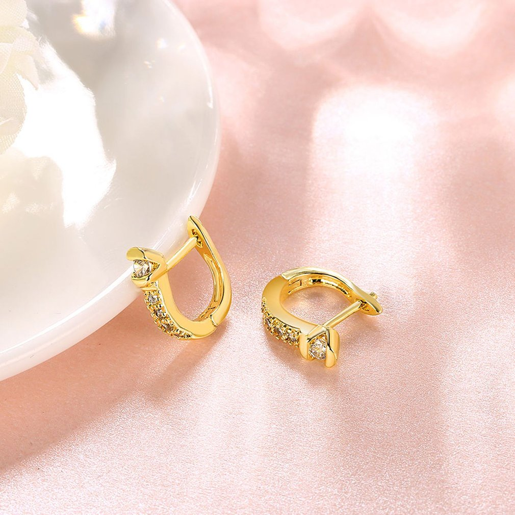 Geometry Shape Ear Clip Gold Color Earrings with Rhinestones Cubic ...