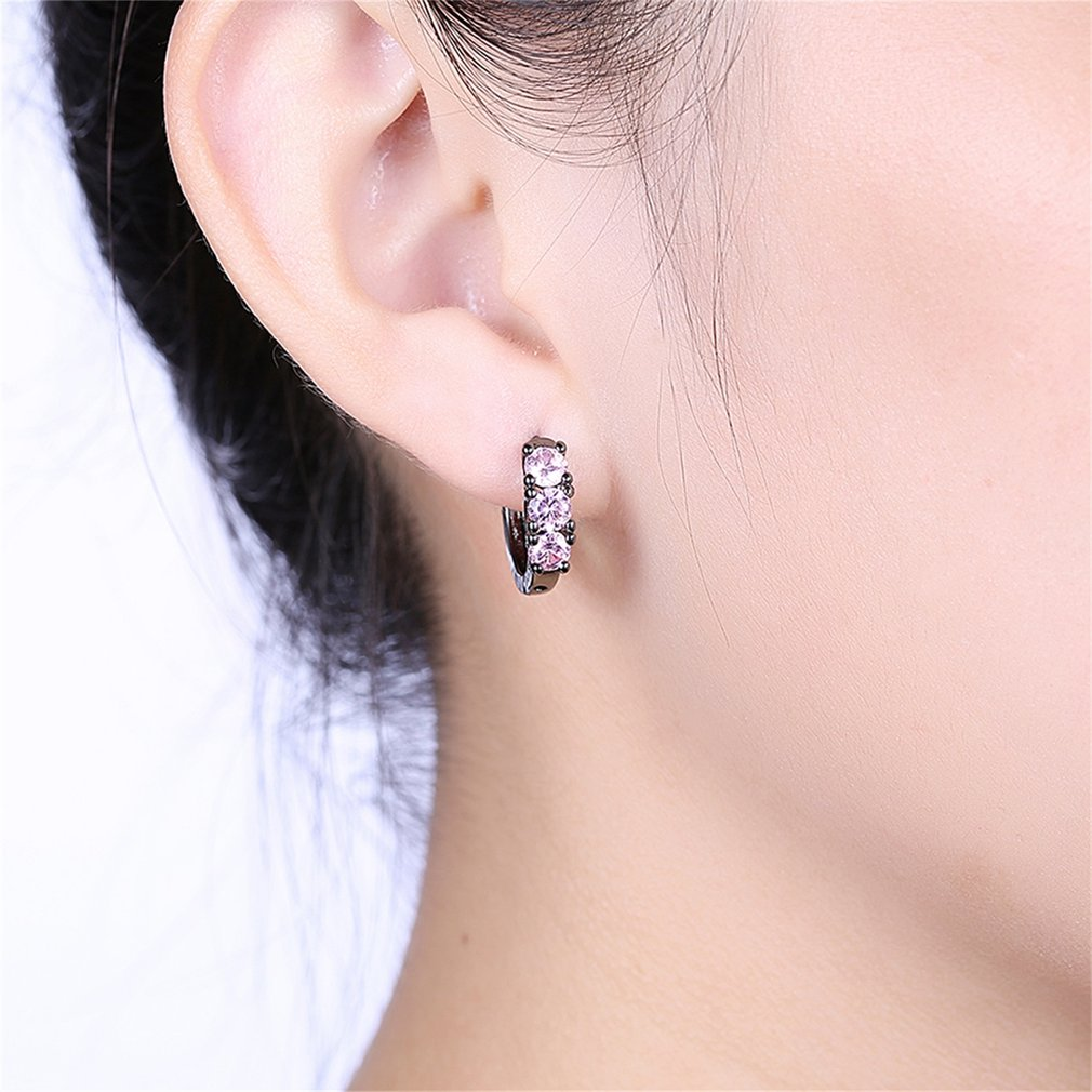 Flawless Ring Shape Earrings with 3pcs Zircon Decor for Female ...