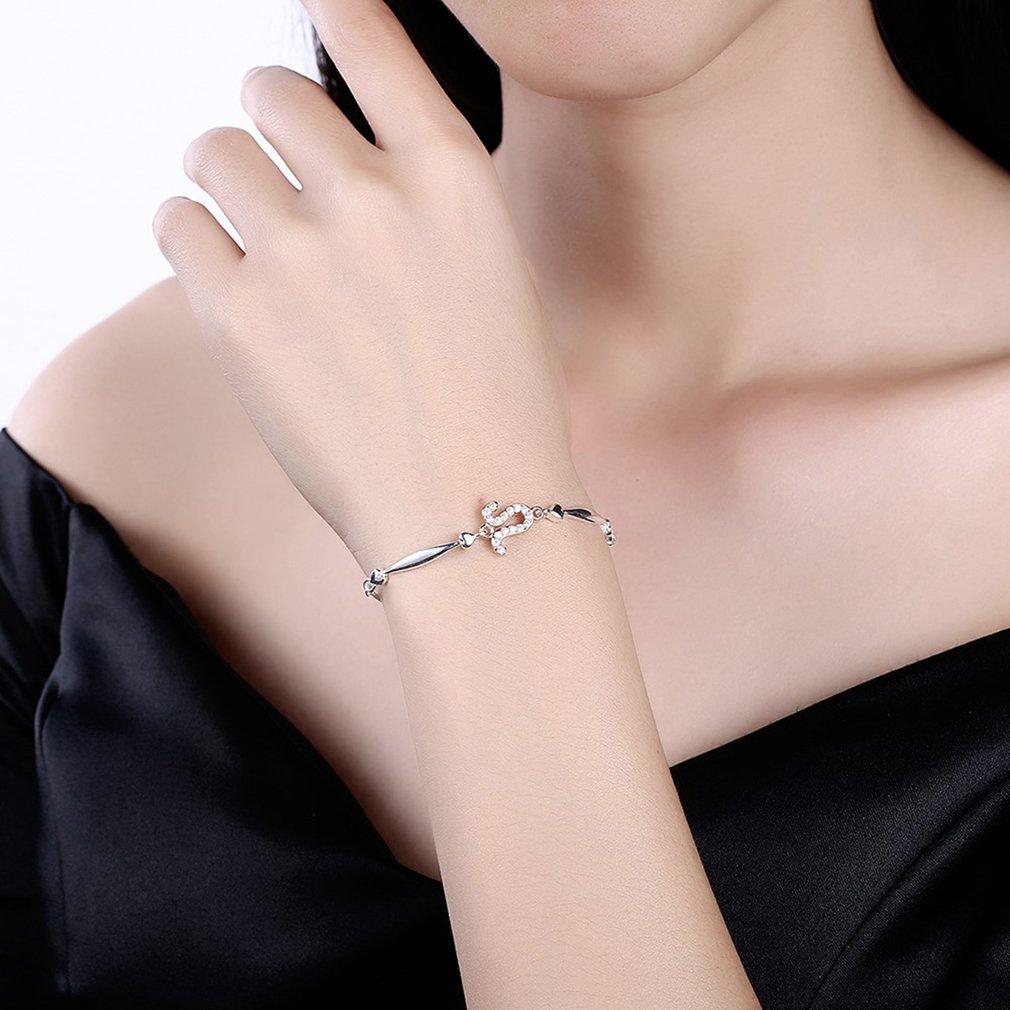 LEKANI S925 Sterling Silver Zodiac Hand Chain With Zircon Leo Type ...