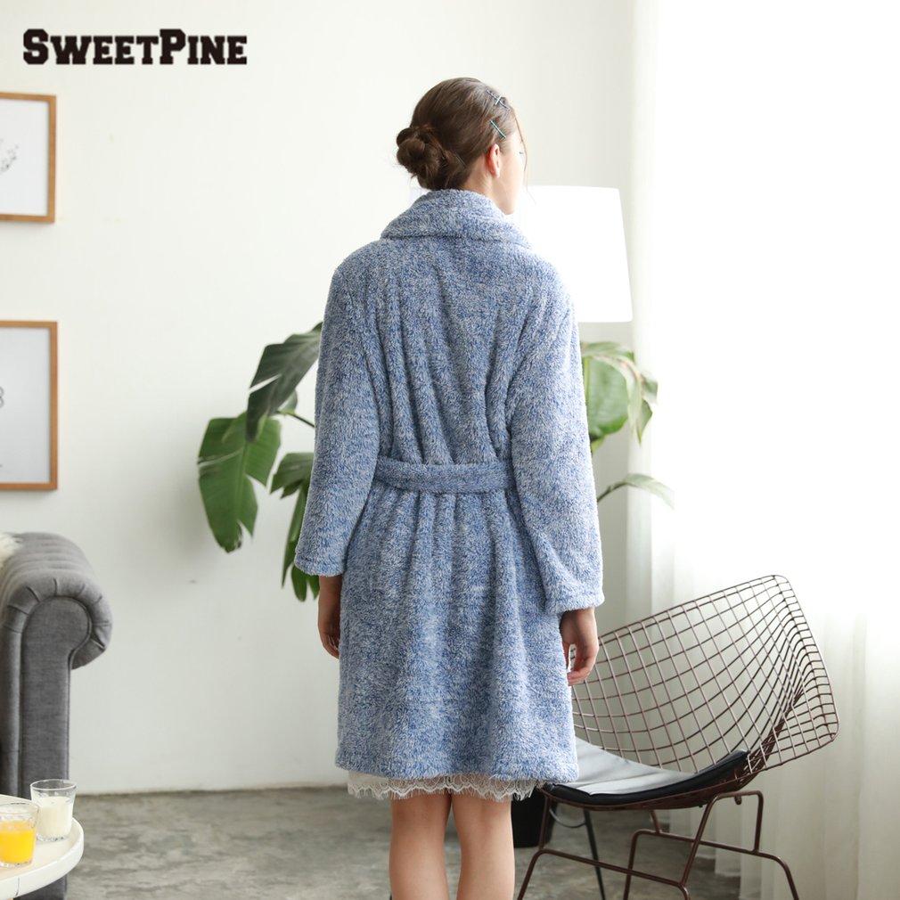 Luxury sexy cozy warm flannel bathrobe nightwear nightgowns homewear robe  sleepwear for women ladies 60facd953