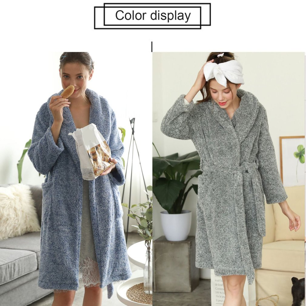 Women Soft Warm Flannel Bath Robe Nightgown Women\'s Sleepwear ...