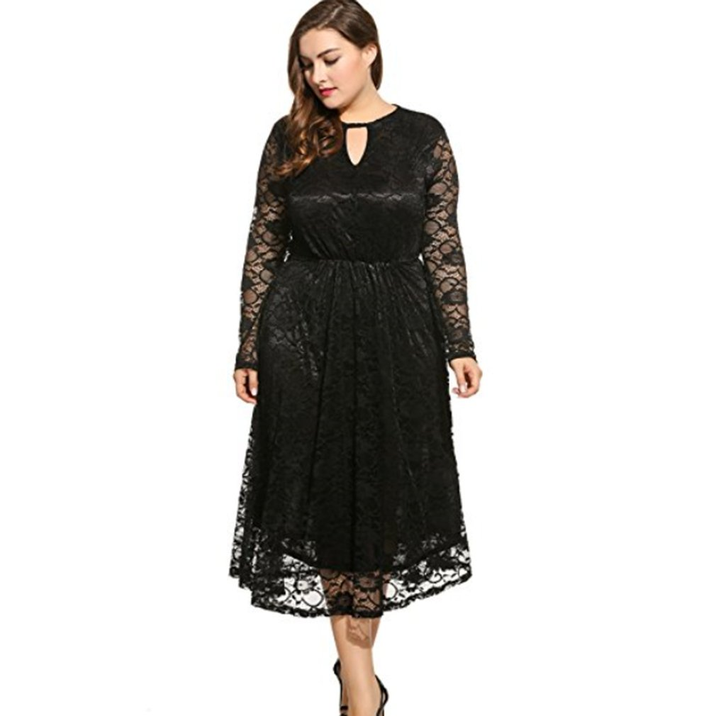 Big-Plus-Size-2018-Hot-Elegant-Women-Lace-Dress-Party-Bodycon-Maxi-Long-Dress-NP