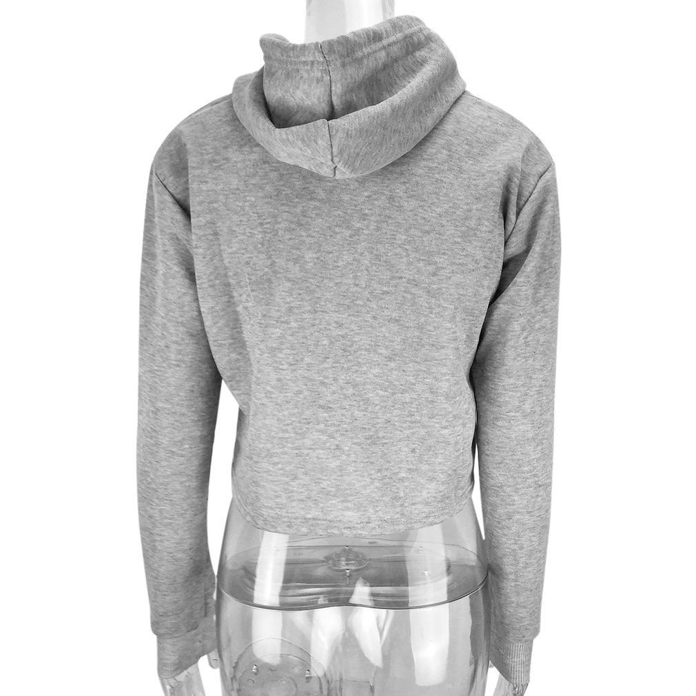 a6f2673fa03ad1 Women Hoodie Sweatshirt Jumper Sweater Crop top Coat Sports Pullover Tops ZW