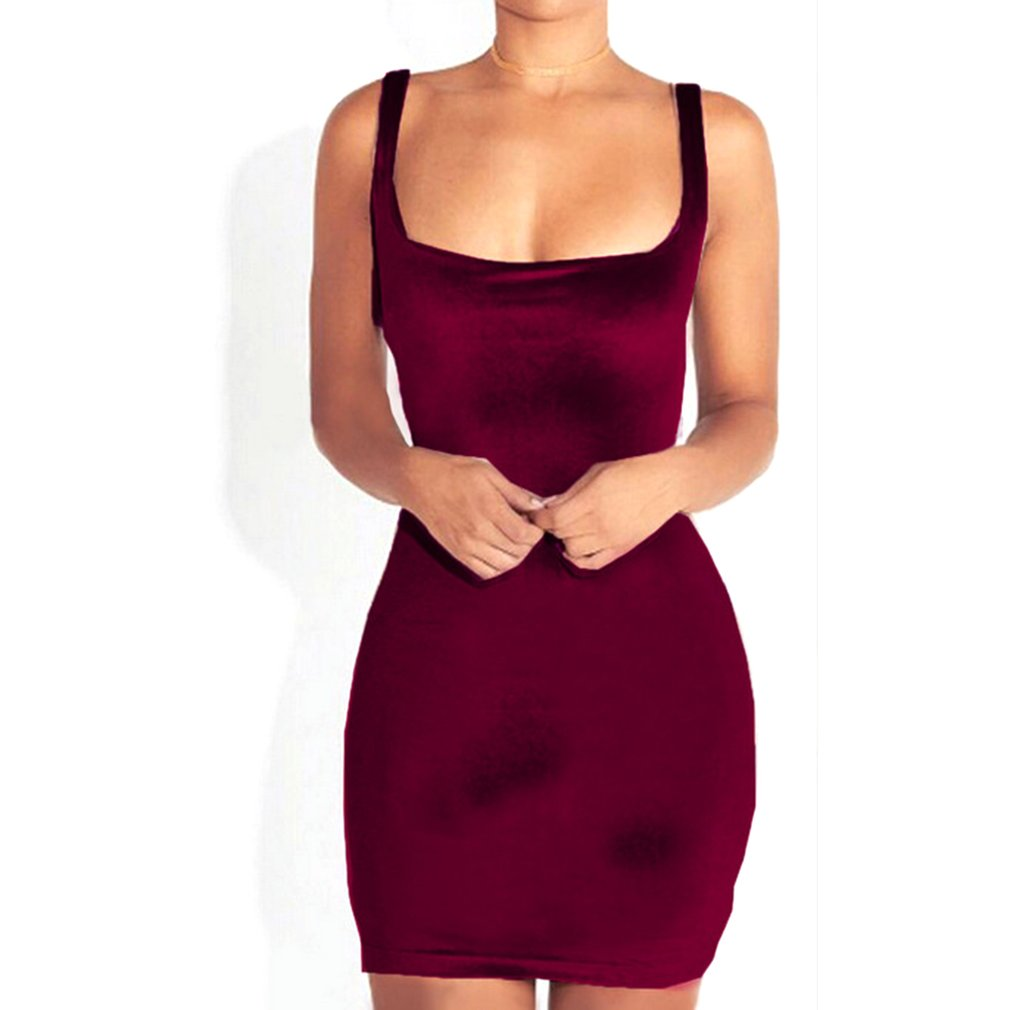 fd82bfef9a3c Female Sexy Velvet Sleeveless Bodycon Dress Cocktail Evening Mini ...