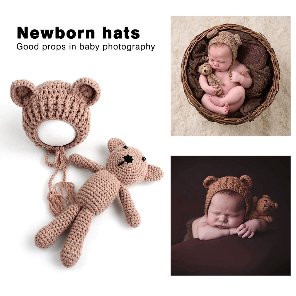 Hat FX Newborn Baby Boy Girl Photography Prop Outfit Photo Knit Crochet Doll