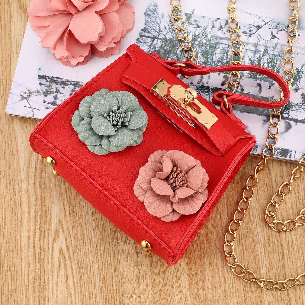 caee38aeea88 Fashion PU Leather Tote Handbag Elegant Flower Decoration Women Crossbody  Bag Strap Chain Mini Shoulder Bag Small Square Bag