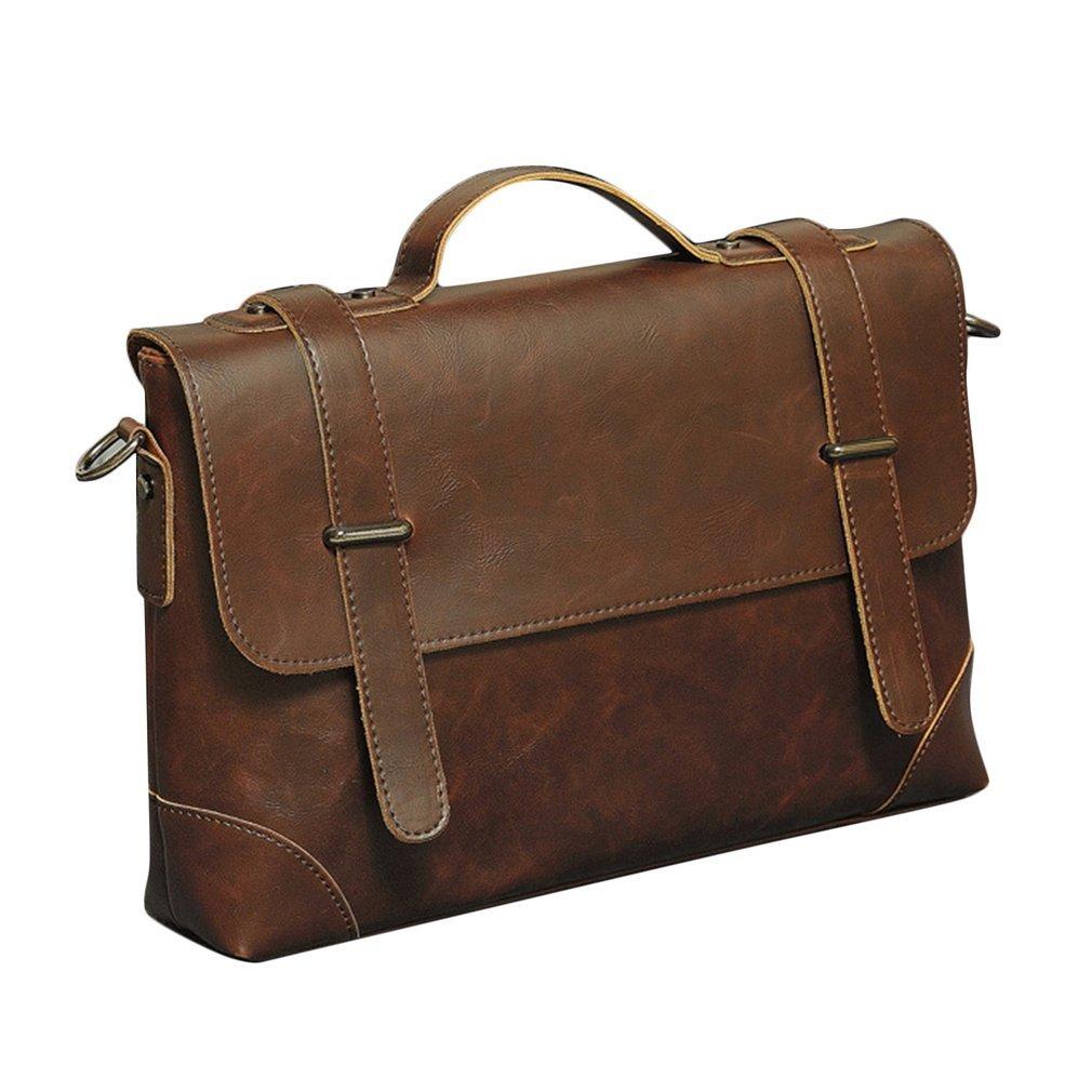 Men/'s Leather Messenger Shoulder Bags Business Work Briefcase Laptop Bag Handbag