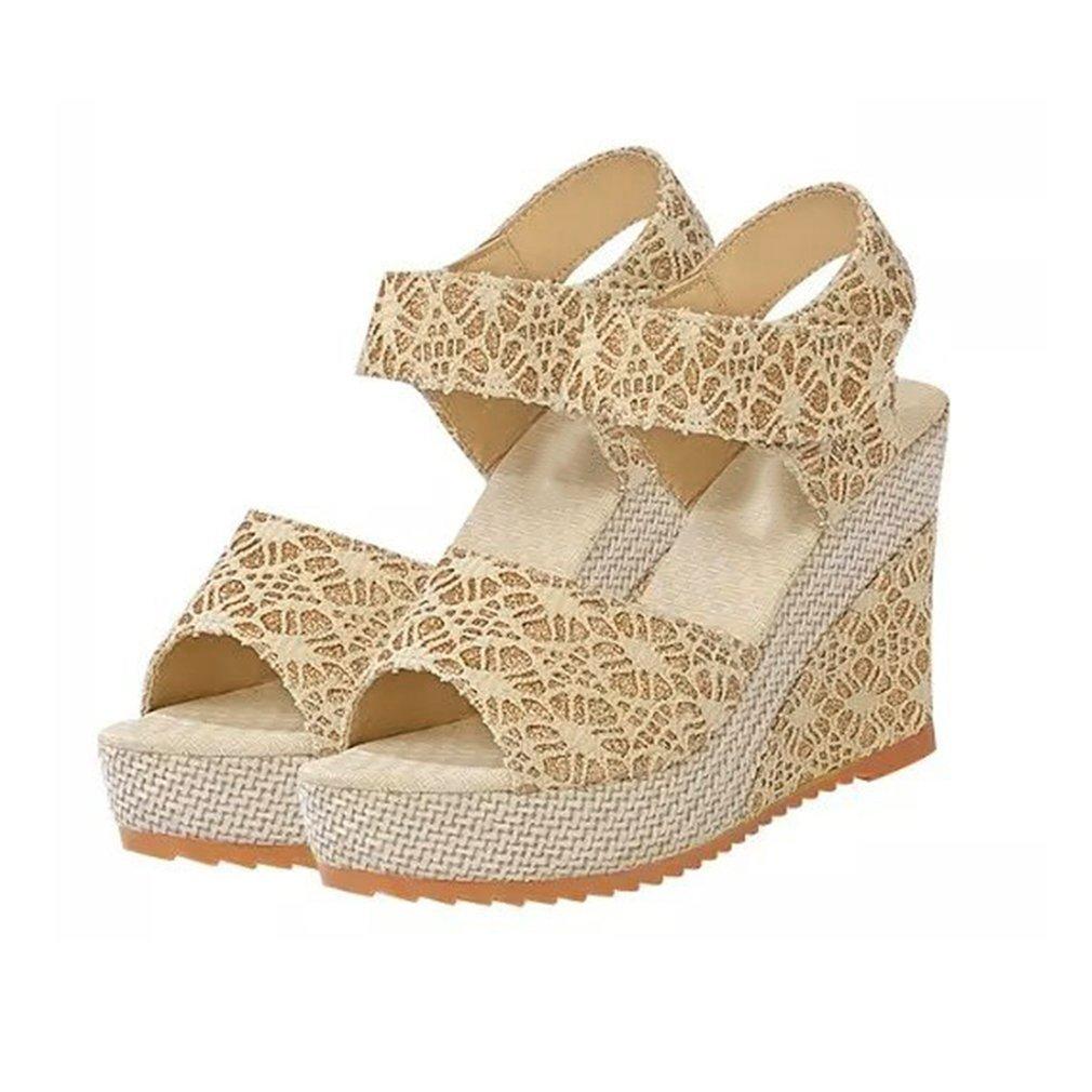 12a59f869c24 Womens Platform Cork Wedge Sandals Ladies Ankle Strap Shoes Size 3-8 ...