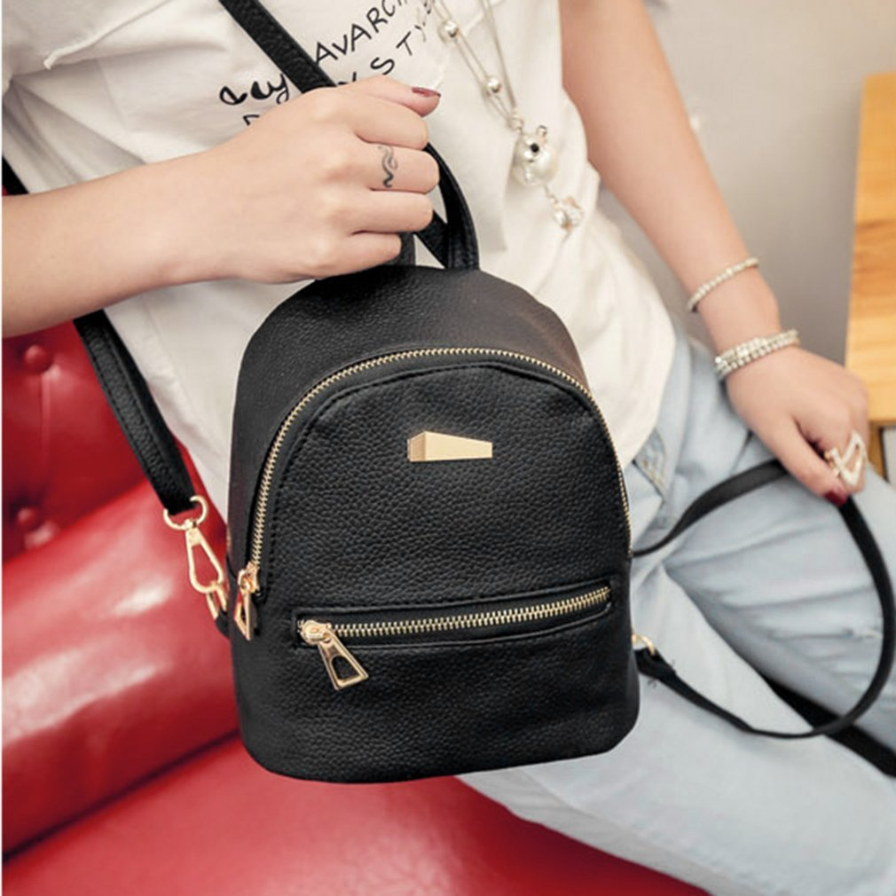 b16928d0cbb3 Solid Color Shoulder Bag with Black Zipper Cloth   Golden Zipper PU Leather  Mini Backpack Casual Shoulder Bag for Women