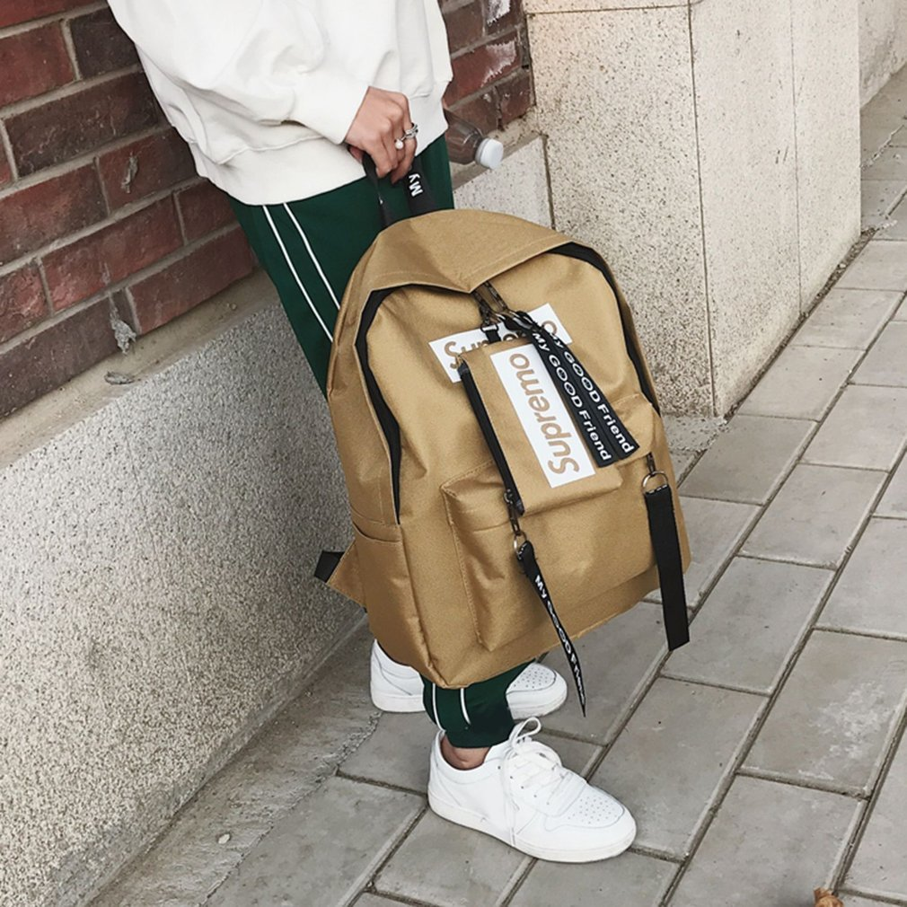 08297217f7 Large Capacity Women Canvas Backpack Casual Solid Teenage Girls ...