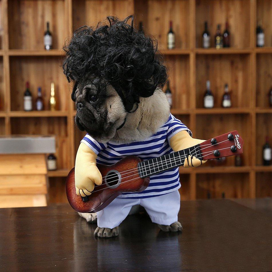 Funny Pet Guitar Clothes Dog Guitarist Dressing Costume Pet Guitar Dress#OZZ 5