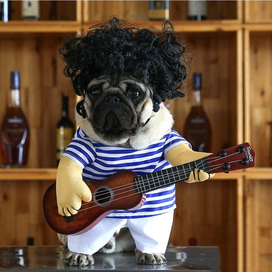 Funny Pet Guitar Clothes Dog Guitarist Dressing Costume Pet Guitar Dress#OZZ 2