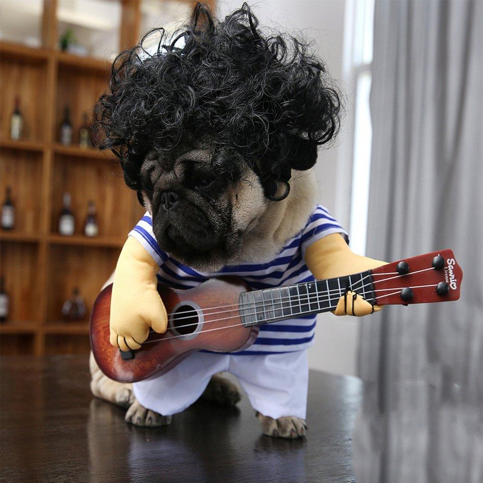 Funny Pet Guitar Clothes Dog Guitarist Dressing Costume Pet Guitar Dress#OZZ 13