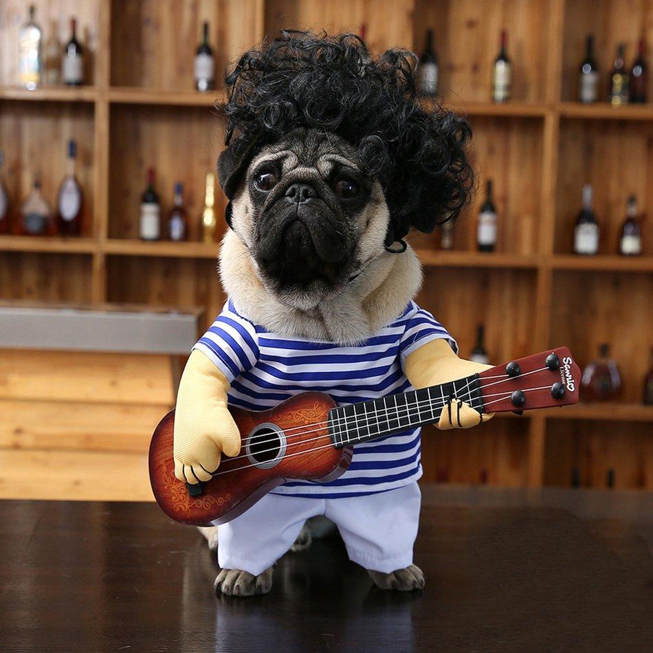 Funny Pet Guitar Clothes Dog Guitarist Dressing Costume Pet Guitar Dress#OZZ 11