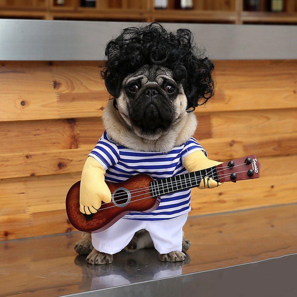 Funny Pet Guitar Clothes Dog Guitarist Dressing Costume Pet Guitar Dress#OZZ 7