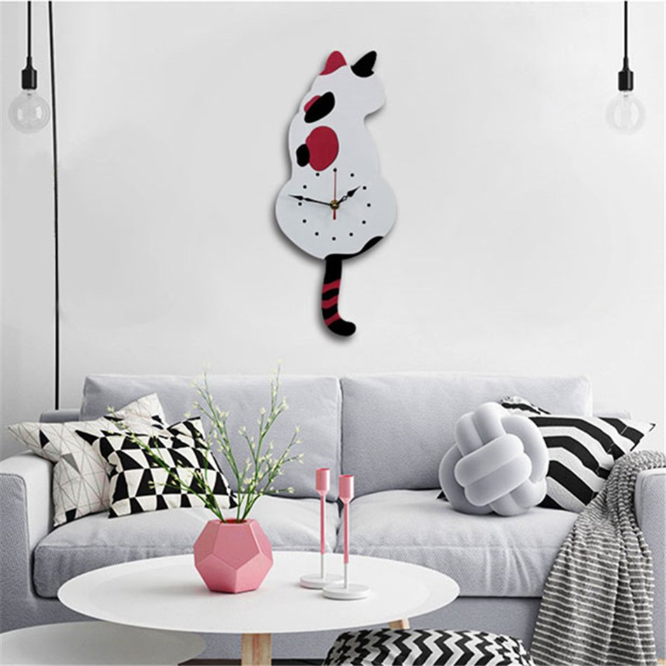 Animal Cat Wall Clock Household Living Room Acrylic Wagging Tail ...
