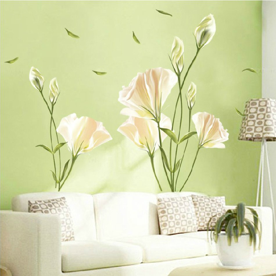 Beautiful Lily Flower Pattern Removable DIY Home Decal Decorative ...