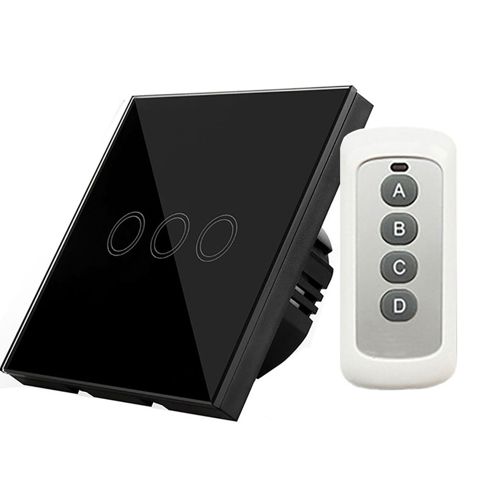 3-way Remote Control Touch Switch Wall-mount With Remote Controller ...