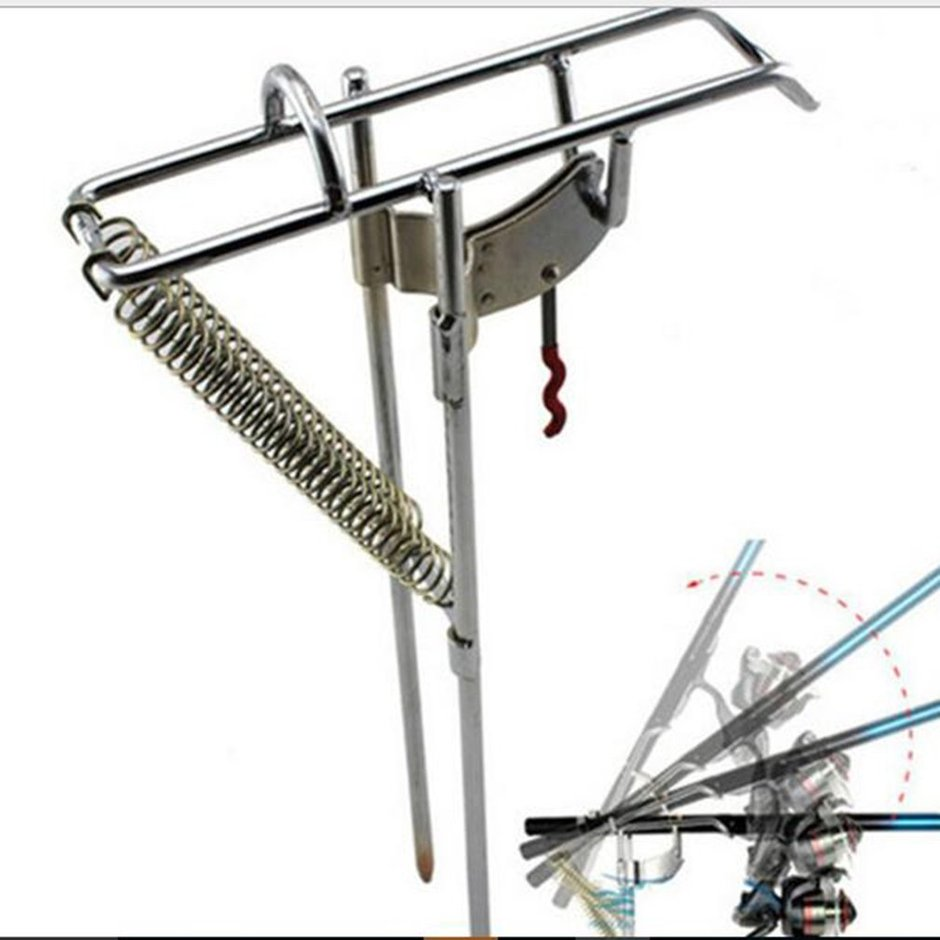 Fishing rod holder automatic double spring angle fish pole for Automatic fishing pole
